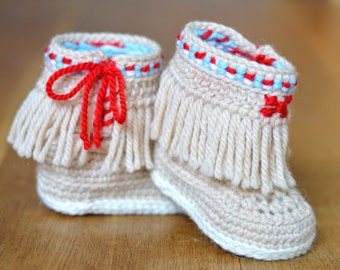 Baby Moccasin Booties CROCHET PATTERN, Fringe Moccasins for baby, 3 Sizes, Photo Tutorial, Easy Baby Shoes Crochet Pattern, Instant Download
