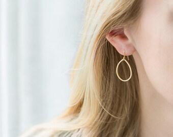 Gold Teardrop Hoop Earrings / 14K Gold Filled Ear Wires / Dainty Matte Gold Drop Earrings / Gold Dangle Earrings