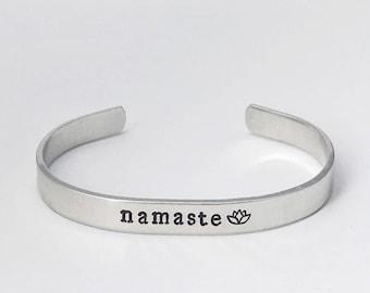 Namaste Cuff Bracelet, Lotus Flower Cuff Bracelet, Yoga Jewelry, Yoga Love Gift, Yoga Lover Bracelet, Yogi Cuff Bracelet, Namaste Gift