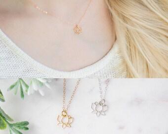 Gold Lotus Flower Necklace - Yoga Necklace - Dainty Gold Necklace - Tiny Lotus Necklace - 14K Gold Filled