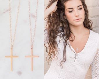 Gold Cross Necklace, Confirmation Gift, Christian Necklace, Religious Jewelry, Rose Gold Cross Necklace, Cross Necklace Women, Baptism Gift