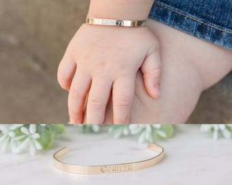 Baby Bracelet, Personalized Baby Toddler Name Bracelet, Custom Cuff for Little Girl, Initial Bracelet, Baby Jewelry, 1st Birthday Gift
