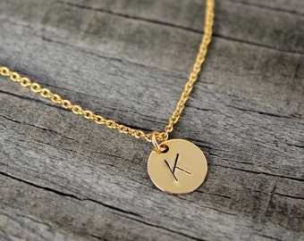 Stocking Stuffer Jewelry, Gold initial necklace, Dainty initial necklace, Personalized necklace, hand stamped necklace - gift for her