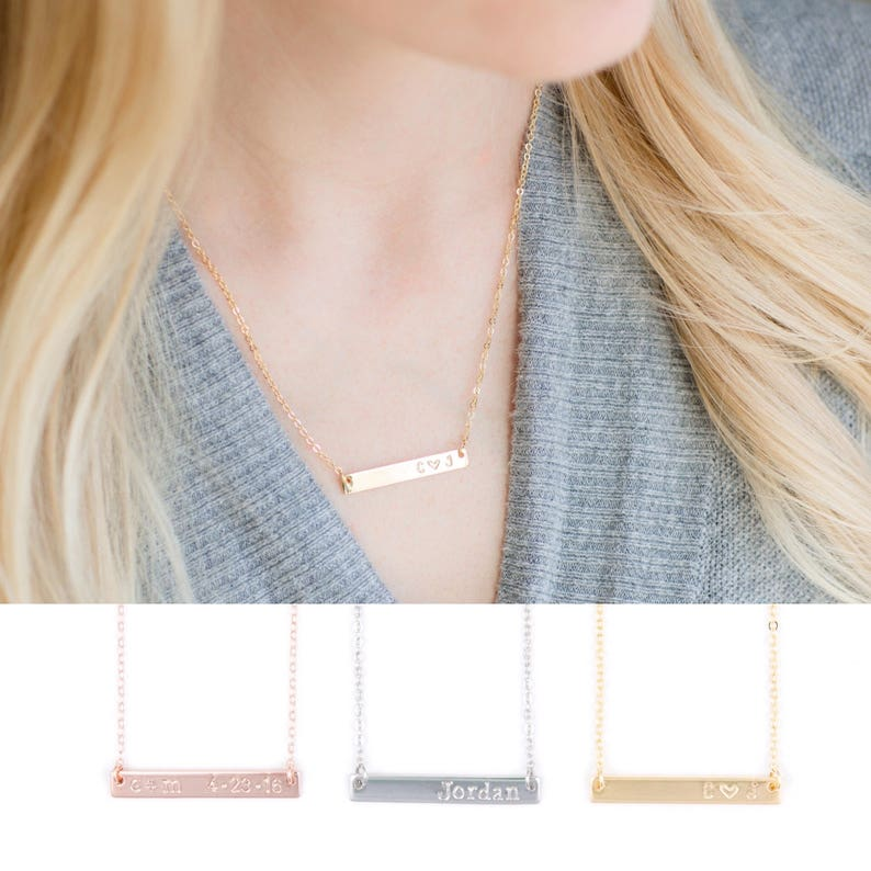 Personalized Bar Necklace Mommy Jewelry Graduation Gift Grandma Gift Bridesmaids Gift Gift for Her Gift for Women Gift for Mom Wife