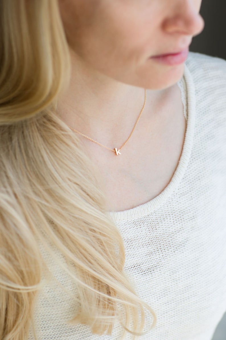 Dainty Initial Necklace Gold Lowercase Initial Silver image 1
