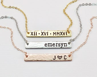 Personalized Bar Necklace, Bridesmaid Gift, Hammered Bar Necklace, Organic Custom Gold Bar Necklace, Rose Gold Bar, Silver Bar Necklace