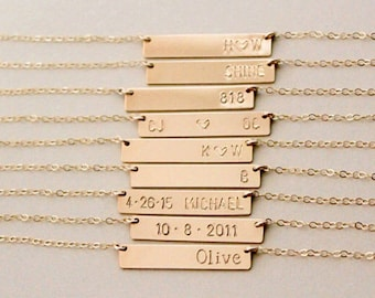 Gold Bar Name Necklace - Personalized Bar Name Plate Necklace - Hand Stamped Necklace - Gold Filled - Bridesmaid Gift - Personalized Jewelry