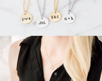 Personalized Gold Disc Necklace, Custom Disk, Hand Stamped Jewelry, Monogram Necklace, Silver Custom Initial Necklace, Name Necklace, Gift