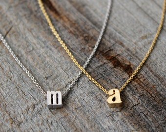 Tiny Gold Lowercase Initial Pendant Necklace / Personalized Dainty Gold Necklace / Gold Letter Monogram Custom Necklace / Bridesmaids Gift