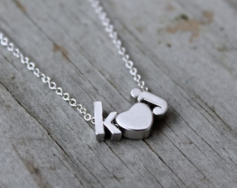 Tiny Silver Lowercase Initial & Heart Necklace - Love Silver Letter Personalized Wedding Gift Jewelry - Couples Necklace - Modern Minimalist