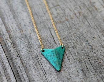 Gold Triangle Necklace, Turquoise Triangle Necklace, Minimalist Jewelry, Dainty triangle, Dainty gold Necklace, Triangle Pendant Necklace