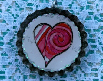 BOTLLTE CAPS-Heart- Pink Spiral