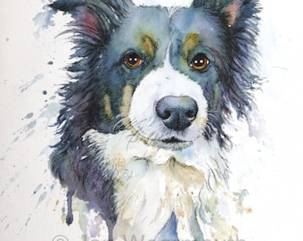 Custom pet portrait commission custom dog portrait in Watercolor, pen & ink from photographs. Made to order. Original pet painting