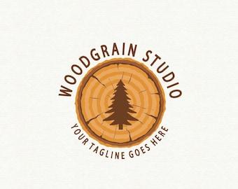 Wood Logo Design On Company Grain Tree Pine