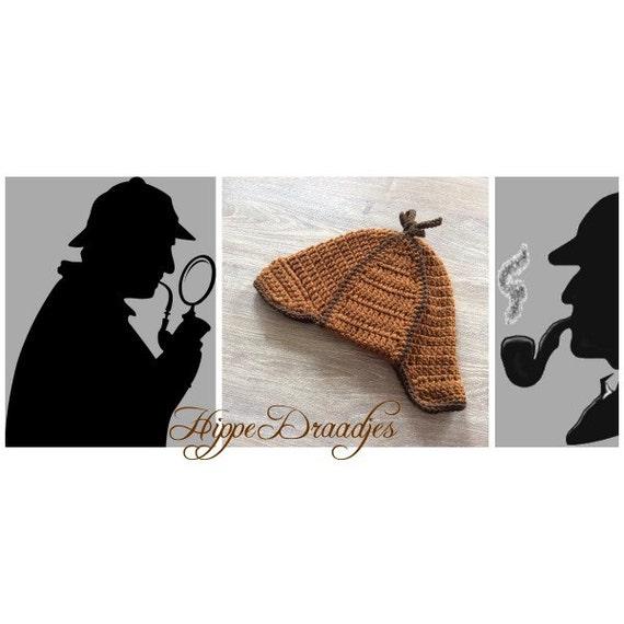 Crochet pattern Deerstalker hat Sherlock Holmes  d9b8f749a78e