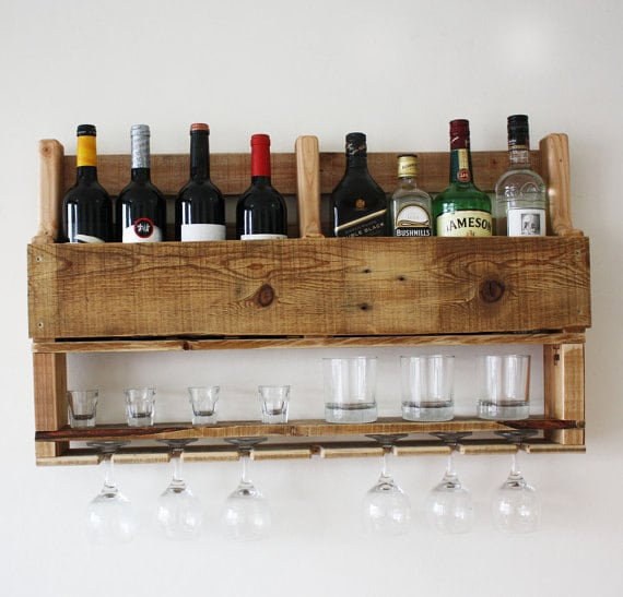 Wine rack wall mounted alcohol bar wall decor wooden rustic | Etsy