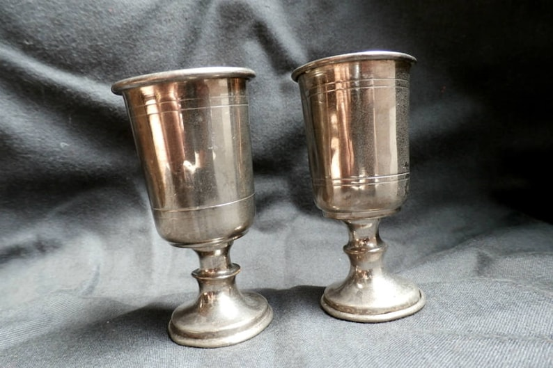 Small Silver Plated Wine Goblets Kiddush Cups Vintage Etsy