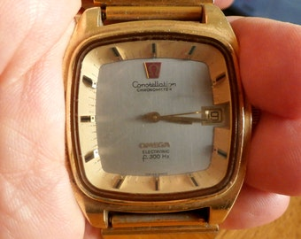 Omega Gold Watch, Original 1970s, Retro Men's Watch, Omega Constellation Chronometer Electronic, Swiss made, Highly collectible