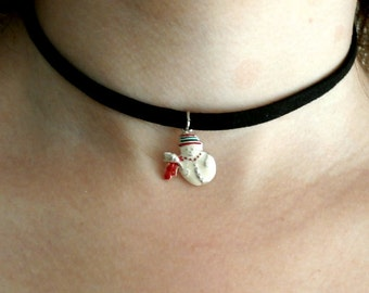 Snowman Choker,xmas Necklace, Snowman Boho jewelry, Vintage Repossessed Jewelry,  fun  jewelry, Gift for her, Gift for girls