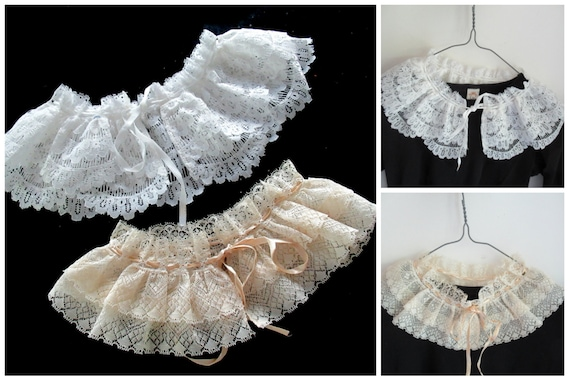 French Detachable Old Lace Collar, Ruffled Lace C… - image 1