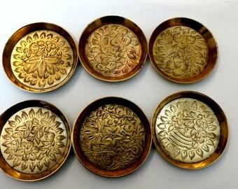 Vintage Brass Etched Coaster, Set of 6 Metal Coasters, Celtic Design,  Goldtone Metal Celtic Coasters, Heavy Nickel