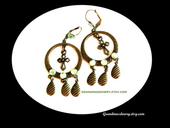 Lolita Green Crystal Long Dangle Earrings, Victori