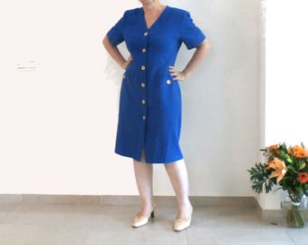 Blue Button Down Short Sleeve Straight Dress, Spring, Haute Couture Dress, WEINBERG Paris, size 10, Made in France, French Retro Fashion