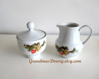 Vintage White Fine German Porcelain China Creamer and Sugar - Henneberg Porzellan 1777 - collectibles