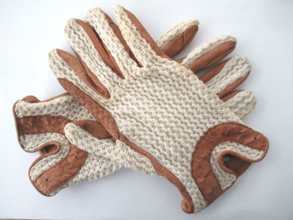 Lady Gloves, Leather & Crochet Driving Gloves, Vin