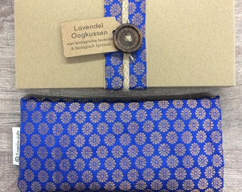 Lavender eye pillow with Indian silk cover - blue flowers