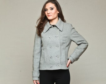 Double Breasted Women's Wool and Cashmer Short Coat , Women's spring jacket by VIEMA - V00230