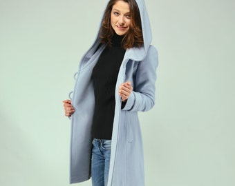 Baby blue womens coat wool / Pastel blue coat / Womens Coat With Hood / Hoodie / Winter Wool Coat  / Elegant Womens Coat