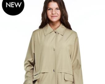 Short Coat Women/'s Sand Raincoat with Belt Jacket by VIEMA V00800