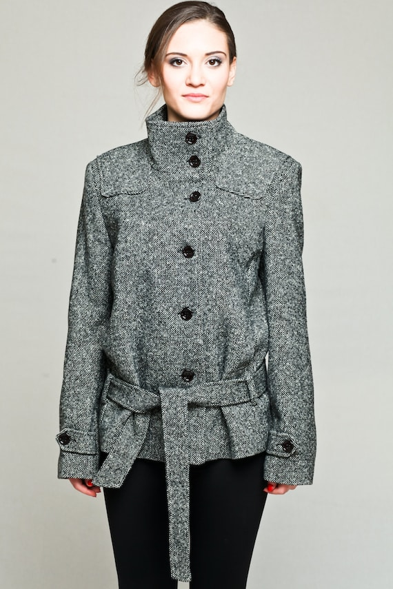 Kurze Damen Wintermantel Grau Wolle Mantel Wintermantel Etsy