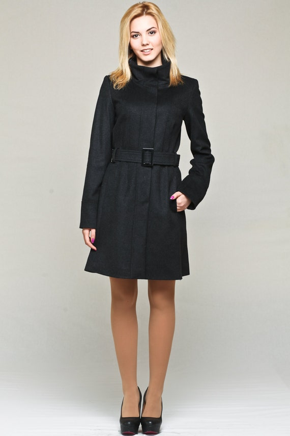 d8469026d9c62 Womens wool and cashmere coat with funnel neck   wool coat