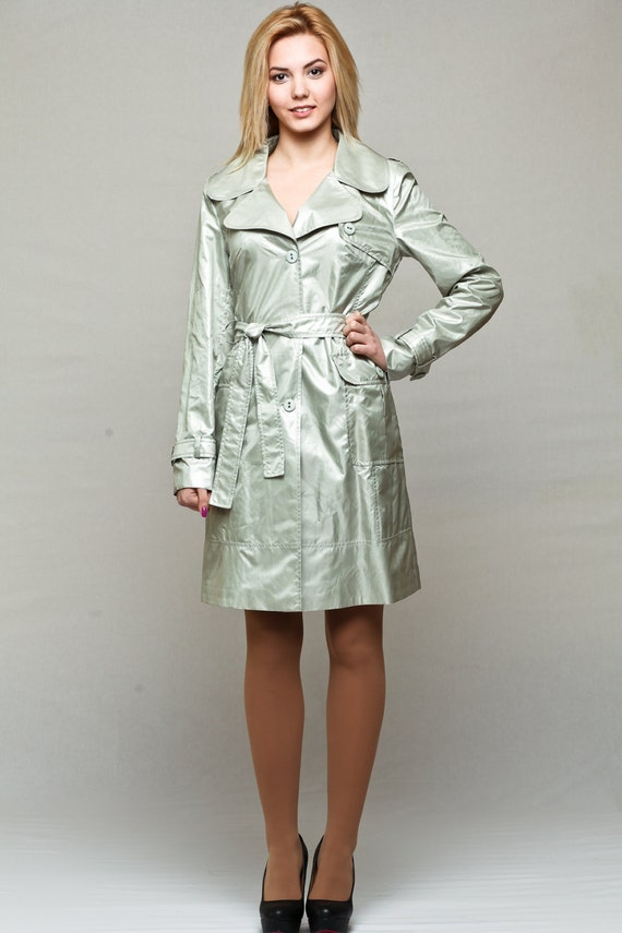 Silver Trench Coat / Womens Raincoat / Spring Jacket With Belt And Large External Pockets / Waterproof Raincoat by Etsy