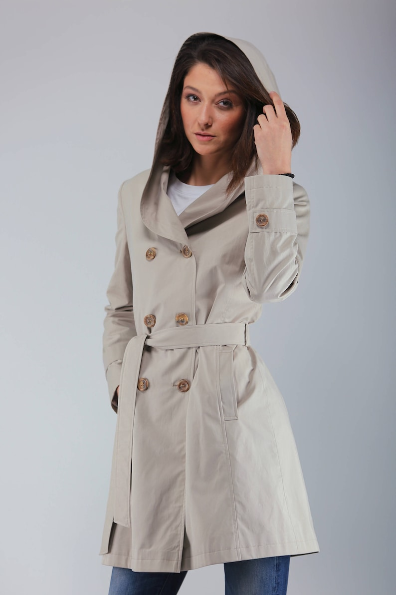 Beautiful Women's Double-Breasted Trench Coat with Hood  image 0