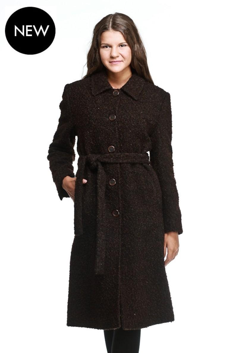 brand new 9d1e3 a4ed5 Elegante lange braune Boucle wolle Mantel, Damen Mantel, Damen lange  Mantel, geraden Linie Wollmantel, schwarz, braun, Creme, Camel, grau, von  VIEMA - ...