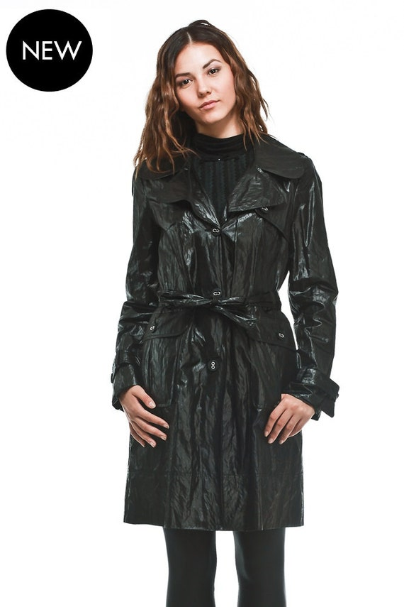 Black Three Quarter Trench Coat / Raincoat / Jacket With Belt And Large External Pockets by Etsy