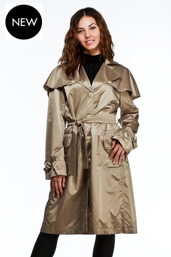 promotion 100% quality quarantee various colors Contemporary Trench Coat with Detachable Cape , Shiny Waterproof and  Windproof Women's Raincoat , Womens Jacket by VIEMA - 00870