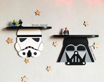 Set 2 wooden shelf Stormtrooper, Galactic Empire, Imperial , Rebel alliance, Boyfriend Gift