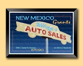 12 x 18 wall art Mid-Century sign for the Wilsey 39 s Auto Sales dealership on E. Santa Fe Avenue, old Route 66, in Grants, New Mexico