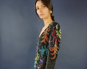 Colourful Vintage beaded and sequin maxi dress