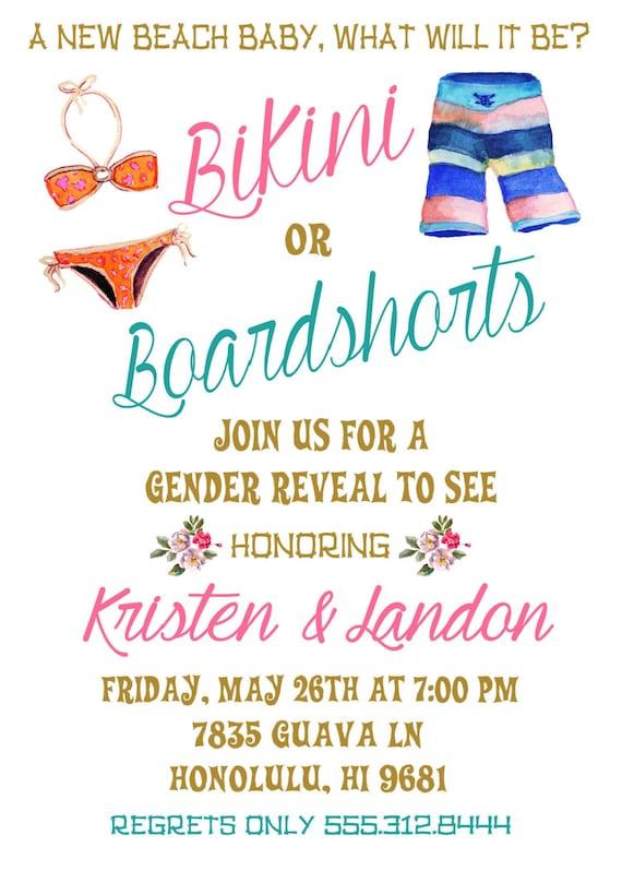 Boardshorts or Bikinis Snapchat Filter Boardshorts or Bikinis Gender Reveal Baby Shower Invitation SnapChat Girl Boy