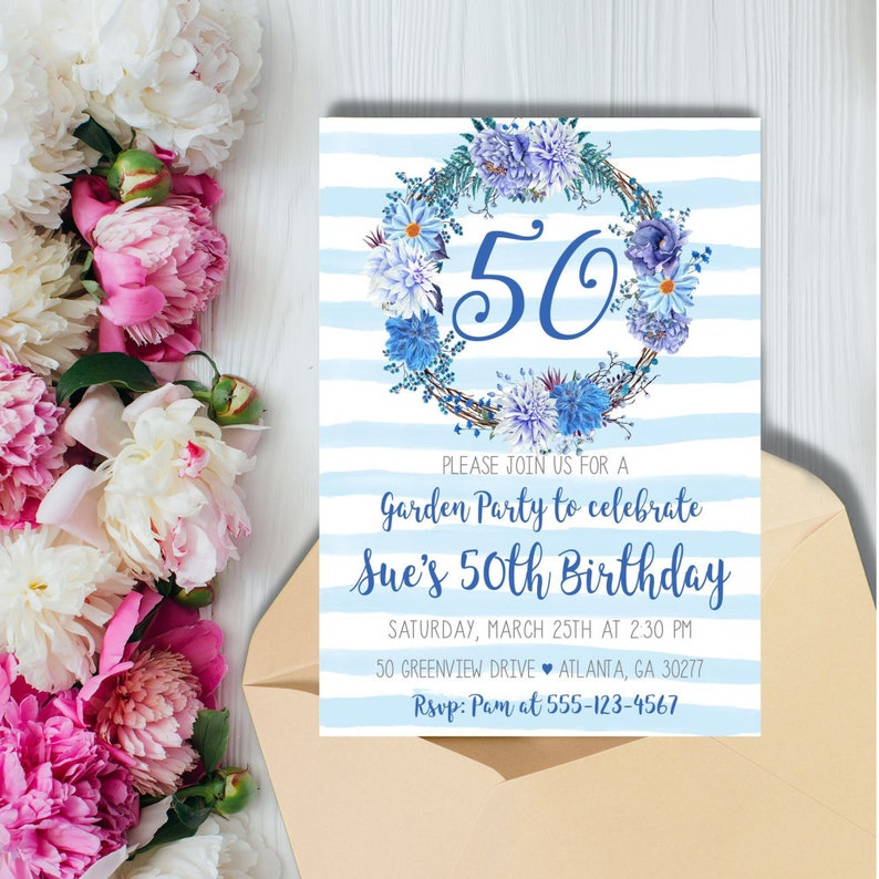 50th Birthday Party Invitation Tea Hydrangea Floral Brunch 70th 80th