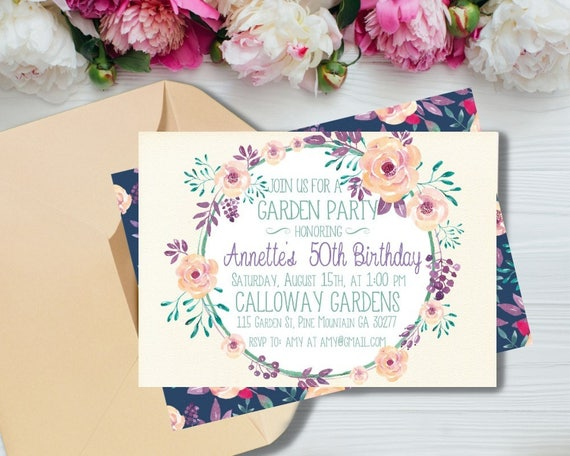Flower Birthday Invitation Garden Tea Party Invitations 50th
