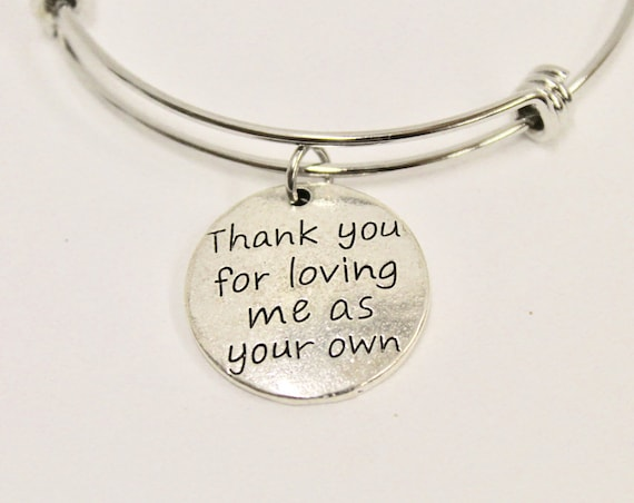 Stepmother Gift, Thank You For Loving Me As Your Own Expanding Bangle Charm Bracelet, Stepmom Jewelry, Mother-In-Law Gift, Thank You Gift