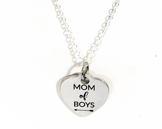 Mom of Boys Necklace, Silver Necklace for Mom, Boys Mom Gift, Gift For Mom, Mom of Boys Jewelry Gift, Mom Valentine Gift, Mom Gift Necklace