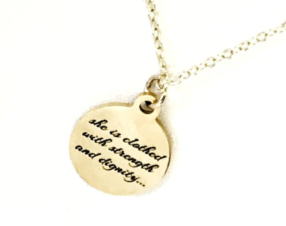 Christian Gift, Christian Necklace, Christian Woman Gift, She Is Clothed With Strength And Dignity Necklace, Gift For Her, Proverbs 31 25