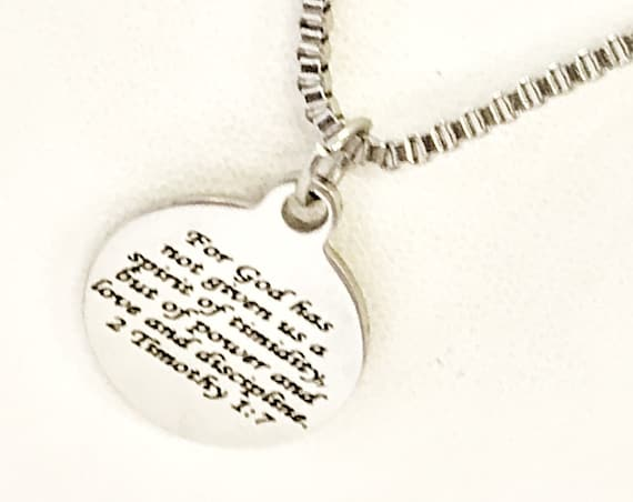 Scripture Necklace, God Has Given Us A Spirit Of Power Necklace, 2 Timothy 1 7 Charm, Bible Verse Gift, Bible Verse Necklace, Scripture Gift